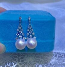 gorgeous 10-11mm south sea round white pearl earring 925s