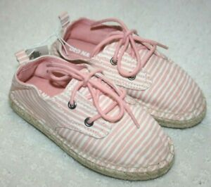OLD NAVY Girl Espadrille Flat Red White Stripe Tweed SIZE 9 4th July USA Shoe