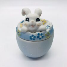 """Collectible Ceramic Bunny Rabbit In Blue Egg Trinket Box Approx: 2"""""""
