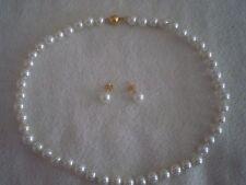 Perlenkette + Ohrstecker.925 Silber Vergoldet.ca.42 Gramm..Echte Südsee Perlen.
