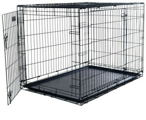 Foldable Dog Crate Cage 2 Door Strong Durable Metal Construction 42 in. x 28 in.