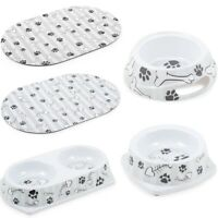 Ancol Dog Puppy Cat Kitten Bowls Twin Dish Mats Grey Stripe Fish Bone Paw Print