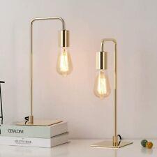 Modern Set of 2 Gold Table Desk Lamps Beside Nightstand...