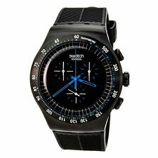New Swatch Blue In Dark Chrono Men Rubberband Oversize Watch YOB103 48mm $225