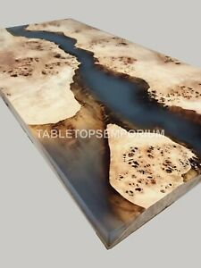 Resin Black River Epoxy Center Conference Table Top Mappa Burl Wood Furniture