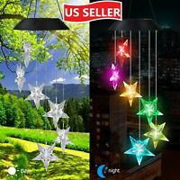 LED Six Stars Wind Chime Solar Powered Lights Color-Changing Yard Garden Decor