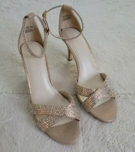 """David's bridal """"Brianne"""" Heels Wedding Shoes Gold BLING size 10 - NEW"""