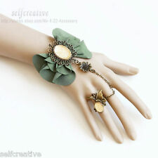 Gothic Butterfly Bow Flower Rhinestone Statement Adjustable Ring Wrist Bracelet