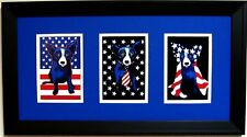 "GEORGE RODRIGUE PATRIOTIC NOTECARD TRIO - 22"" x 12"" - ROYAL BLUE / WHITE MATTING"