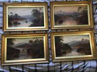 Vintage gilt framed signed original set of 4 oil paintings