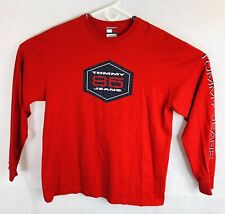 Tommy Hilfiger Mens T-Shirt Red Large Long Sleeve Crew Neck 90's *FREE SHIPPING*