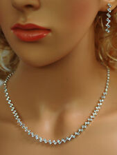 SC Bridal Crystal Necklace Earrings Set Prom Wedding Pageant Jewelry N1X5