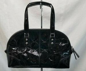 COACH Signature Patent Black Leather Satchel F14412