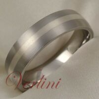 Titanium Wedding Band Silver Inlay Men's Ring Jewelry Size 6-13
