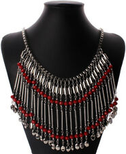 Beautiful Couture Red & Silver Chain Long Fringe Tassel Runway Necklace