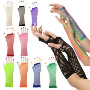 Neon Fishnet Gloves 1980s 80s Rave Hen Party Fancy Dress Costume Fingerless UK