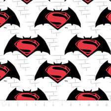 Batman vs Superman Logo in White Premium Camelot 100% cotton Fabric by the yard