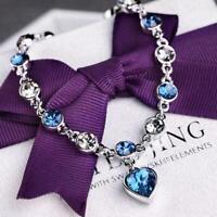 Women Ocean Heart Austrian Crystal Chain Jewelry Bracelet Bangle Gifts C1H9