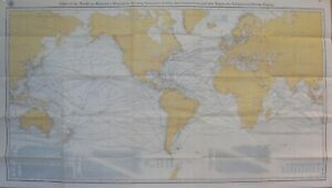 1905 WORLD MAP SUBMARINE CABLES / STEAMSHIP ROUTES National Geographic Reprint