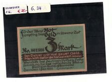 Notgeld 3 Mark Hannover 1 Wert komplett