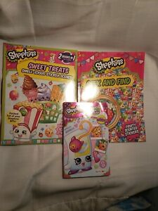 Lot of 3 shopkins sticker, coloring, activity books