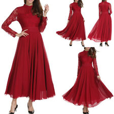 Plus Size Womens Ladies Lace Long Chiffon Wedding Evening Party Bridesmaid Dress