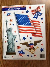 NEW 11 STATIC WINDOW CLINGS  EAGLE FLAG STATUE OF LIBERTY USA 4th of JULY