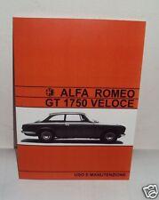 Uso e manutenzione Alfa Romeo GT 1750 Veloce Owner's manual