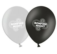 """Bonfire Night Fireworks 12""""  Black & Silver Assorted Latex Balloons pack of 20"""