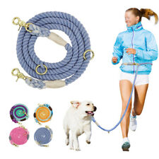 Pet Dog Leash Braided Cotton Rope Multifunction Hand Free Leash 2 Twin Dogs Lead