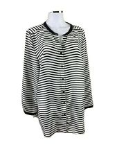 Maggie T Size 16 Black & White Striped Round Neck L-Sleeved Blouse Scalloped Hem