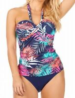 Leilani Womens Swimwear Blue Size 14 Tropical Twist-Halter Tankini Top $62 899