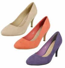 Patternless Synthetic Slim Court Heels for Women