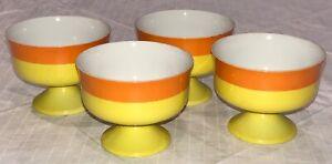 Set of 4 Yellow Orange Japanese Hakone Fine Ceramic Dessert Soup Bowls