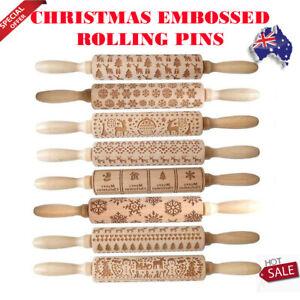 Christmas Embossed Rolling Pin Biscuit Roller Xmas Baking Cookies Cake Wooden AU