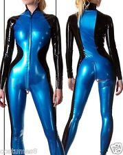 Latex Rubber Bodysuit Navy blue and Black Catsuit Stylish Suit Size XS-XXL