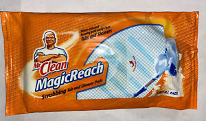 Mr Clean Magic Reach Scrubbing Tub and Shower Cleaning Pads 8 Refill Pack NEW