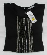 New Size 12 Per Una Black Beaded Stretchy Mock Wrap Top Cross Over V Neck Vest