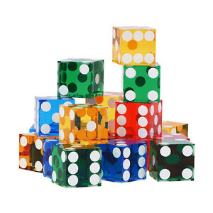 19mm Acrylic Precision Casino Grade Craps Dice (STICK OF 5)