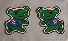 Embroidered Green Zombie Bears Twin Teddy Monsters Patch Pair Set Iron On Sew