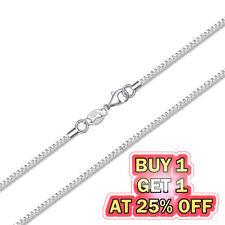 925 Sterling Silver Box Chain Necklace w/ Lobster Lock Men's Women's 16-24 inch