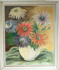 MONOGRAM SIGNED! STILL LIFE COMPOSITION WITH FLOWERS IN VASE