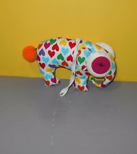 Cloth Handmade Baby Toy Elephant Stuffed Plush Heart Print with big Button Eyes