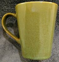 1 MINT Home Trends RAVE GREEN SPECKLED BLACK INTERIOR SQUARE STONEWARE Mug CUP