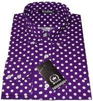 Relco Men's Purple & White Polka Dot Button Down Collar Long Sleeved 60's Shirt