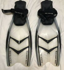 Deep See Aqua Glide Split Fins S/M 5-8.5 Black - Clear