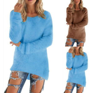 Women Thermal Plush Plain Sweater Lady Long Sleeve Crew Neck Plain Casual Jumper