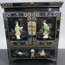 Vtg Chinese Black Lacquer Painted Chest Jewelry Box