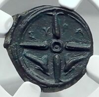 SYRACUSE in SICILY Authentic Ancient 415BC Greek Coin NYMPH DOLPHINS NGC i77876