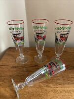 "SET OF 4 Libbey HORSELESS CARRIAGE BUICK 1905 Pilsner Glasses; 8-1/2"" EUC!"